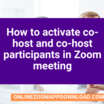 How to activate co-host and co-host participants in Zoom meeting