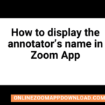 How to display the annotator's name in Zoom App
